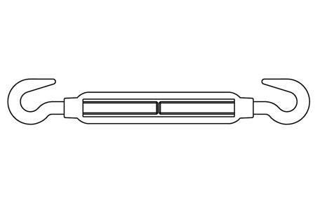 SIM 1480-B - Turnbuckles, hook - hook, similar DIN 1480